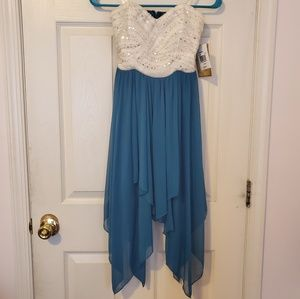 Strapless white and teal asymmetrical party dress